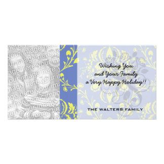 blue and lime green elegant damask photo greeting card