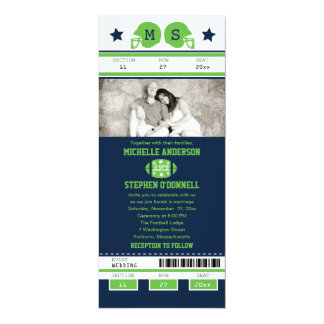 Blue and Lime Green Football Ticket Wedding Card