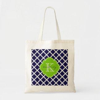Blue and Lime Green Moroccan Quatrefoil Monogam Budget Tote Bag