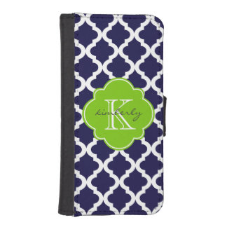 Blue and Lime Green Moroccan Quatrefoil Print iPhone SE/5/5s Wallet Case