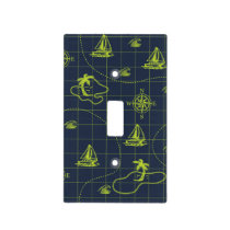 Blue and Lime Green Nautical Map Light Switch Cover