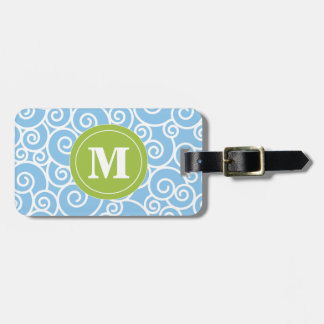 Blue and Lime Green Swirls Monoagram Bag Tag
