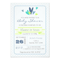 Blue and Lime Hearts Blue Boys baby shower invite