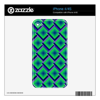 Blue and Lime Layered Diamonds Decals For The iPhone 4S