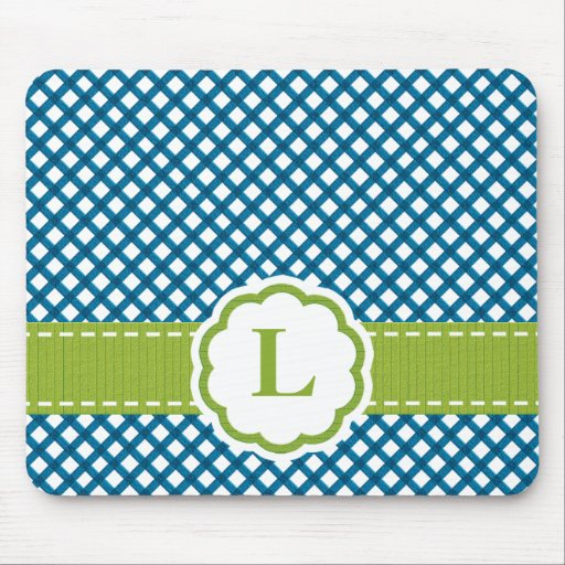 Blue and Lime Monogrammed Gingham Mousepad