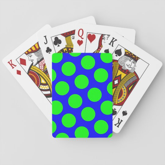 Blue and Lime Polka Dots Playing Cards