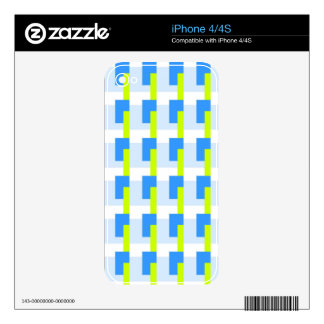 Blue and Lime Rectangles Skin For iPhone 4