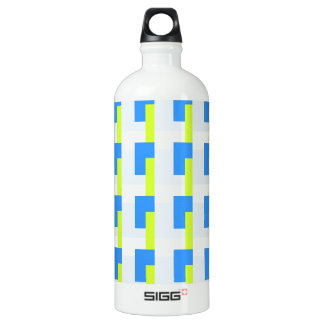 Blue and Lime Rectangles Water Bottle