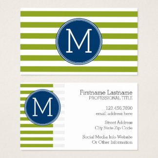 Blue and Lime Striped Pattern Green Monogram Business Card