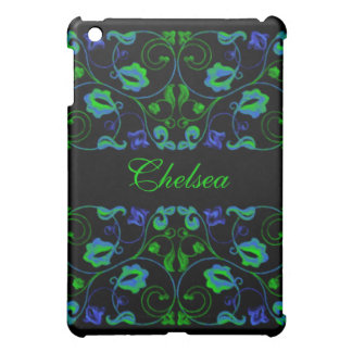 Blue and Lime Vine with Name Case For The iPad Mini