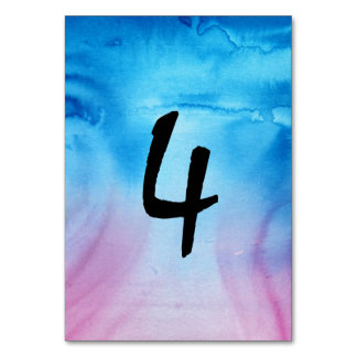 Blue and Magenta Wedding Watercolor Table Numbers