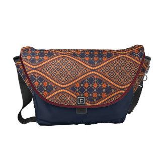 Blue and Mandarin Batik Pattern Messenger Bag