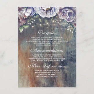 Blue and Maroon Floral Wedding Information Guest Enclosure Card