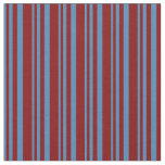 [ Thumbnail: Blue and Maroon Lined Pattern Fabric ]