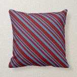 [ Thumbnail: Blue and Maroon Lined Pattern Throw Pillow ]