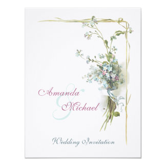 Blue and mauve forget me nots wedding card