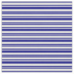 [ Thumbnail: Blue and Mint Cream Lines Pattern Fabric ]