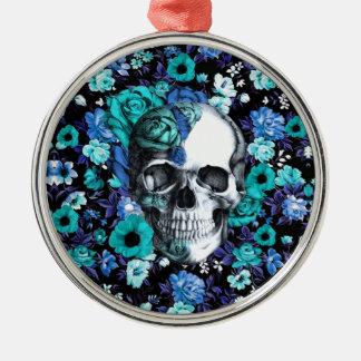 Blue and mint retro floral skull metal ornament