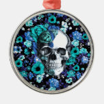 Blue and mint retro floral skull round metal christmas ornament