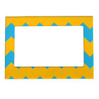 Blue and Mustard Chevron Magnetic Frame