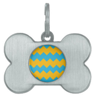 Blue and Mustard Chevron Pet Name Tag