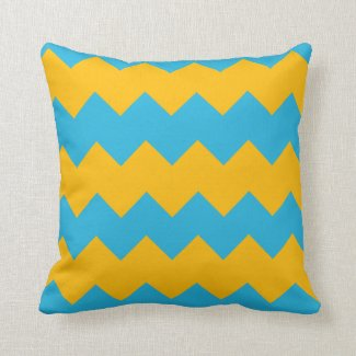 Blue and Mustard Chevron Throw Pillow