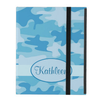 Blue and Navy Camo Camouflage Name Personalized iPad Cases