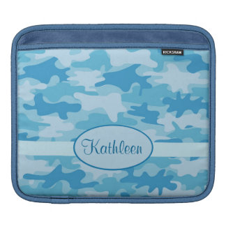 Blue and Navy Camo Camouflage Name Personalized iPad Sleeve
