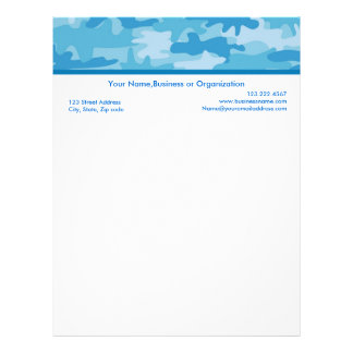 Blue and Navy Camouflage Custom Stationery Letterhead
