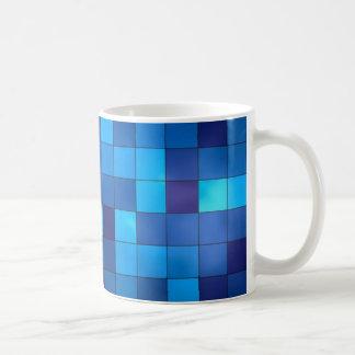 Blue and navy geometric squares mug