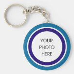 Blue and Navy Photo Keychain