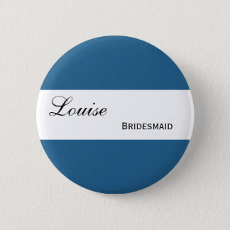 Blue and Navy Retro Squares Wedding Collection Pinback Button