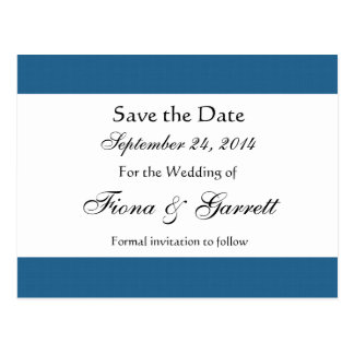 Blue and Navy Retro Squares Wedding Collection Postcard