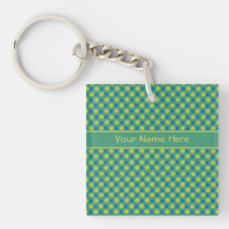 Blue and Neon Green Polka Dots on Emerald Keychain