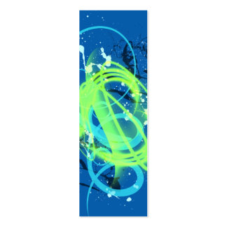 Blue and neon green swirl splatter bookmark mini business card