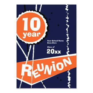 Blue and Orange 10 Year Class Reunion Invitation