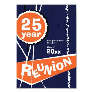 Blue and Orange 25 Year Class Reunion Invitation