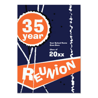 Blue and Orange 35 Year Class Reunion Invitation