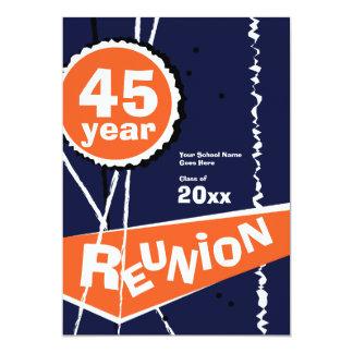 Blue and Orange 45 Year Class Reunion Invitation