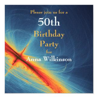 Blue and Orange Abstract  Birthday Invitation