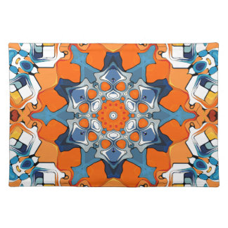 Blue And Orange Abstract Cloth Place Mat