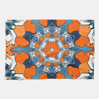 Blue And Orange Abstract Hand Towels