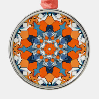 Blue And Orange Abstract Metal Ornament