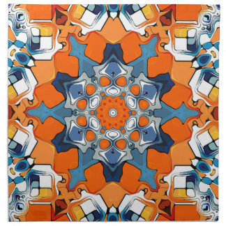 Blue And Orange Abstract Printed Napkin
