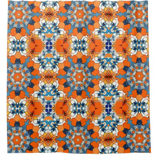 blue and orange abstract shower curtain zazzle. Black Bedroom Furniture Sets. Home Design Ideas