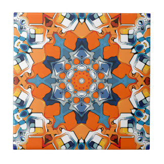Blue And Orange Abstract Small Square Tile