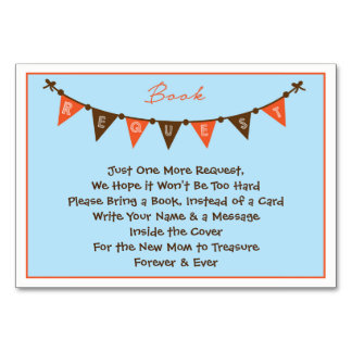 Blue and Orange Baby Shower Card- Bring a Book Card