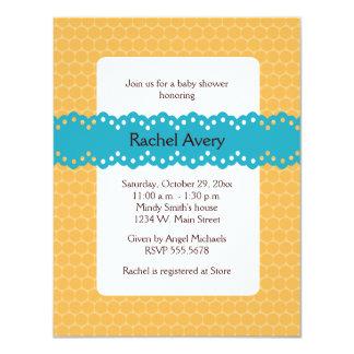 "Blue and Orange Baby Shower Invitations 4.25"" X 5.5"" Invitation Card"