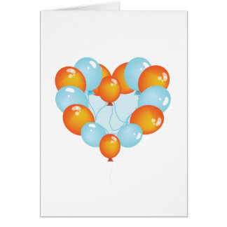 Blue And Orange Balloons Greeting Cards
