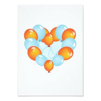 Blue And Orange Balloons Invitations